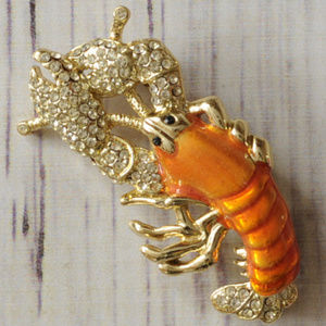 vintage crystal pave enamel lobster brooch pin euc
